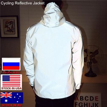2018 Bike Bicycle Cool Windbreaker Jacket Night Cycling Reflective Riding  Jacket Men Sporting Coat Hooded Fluorescent Clothing