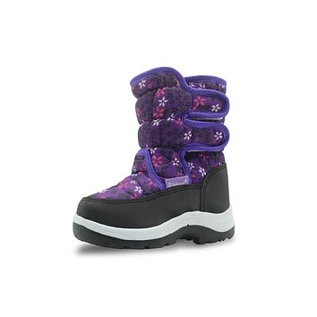 Winter Waterproof Girls Boots Pu Leather Children's Shoes for Girls Mid-Calf Warm Plush Snow Boots Rubber Winter Boots