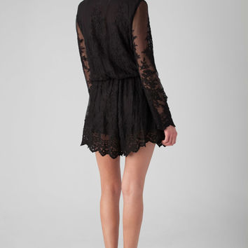 Zimmermann Essence Silk Veil Playsuit in Black