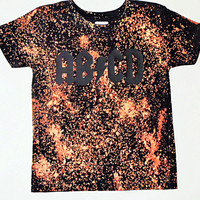 T-shirt or Onesuit ABCD Bleached Splatter vinyl black punk rocker trendy stylish shirt boys clothes gifts toddler baby