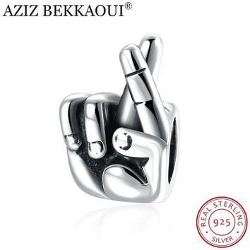 925 Sterling Silver Charm Hand Fingers Crossed Lucky Pandora Bracelets Gesture Beads Jewelry Making