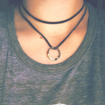 Double Wrap Leather Choker Necklace + Hammered Circle / Ring