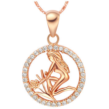 18k Gold Plated Cubic Zirconia Virgo Pendant Necklace [7279210951]