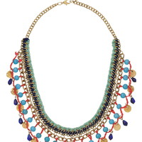 Crochet and bead statement necklace