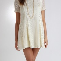 Lace Overlay Dress With A Slight Babydoll Flare