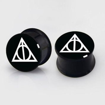 ac DCCKO2Q 2 pieces Deathly Hallows plugs anodized black ear plug gauges steel flesh tunnel body piercing jewelry 1 pair