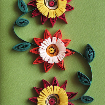 Autumn Quilling Card With Autumn Quilled Flowers in Fall Colors, Handmade Quilled Paper Card
