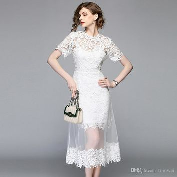 white lace long dress womens summer bodycon dress new A-style fashion lace stitching mesh dress new fashion 2019