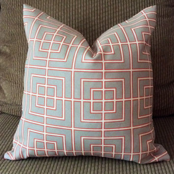Handmade Decorative Pillow Cover - Sky Blue - Coral - Geometric - Indoor/Outdoor - Robert Allen Home