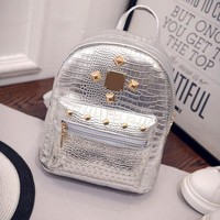 Women Gold Velvet Small Rucksack Backpack