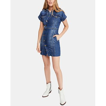 Free People The City Cotton Mini Dress in Denim