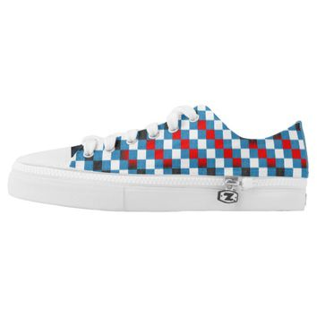 Blue And Red Chess Sneaker Unisex