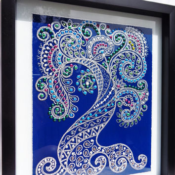 Mehndi Tree of life art Bohemian decor Glass painting
