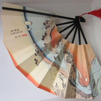 Oriental Paper Fan Japanese Mountain Asian Red Tassel Calligraphy Signature