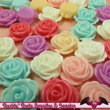 10 pcs 14mm ROSES Resin Flower Cabochons / Decoden Flatback Cabochon