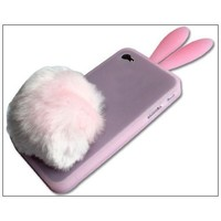 Bunny Rabit Silicone Case Skin for Iphone 4 Stand Tail Holder