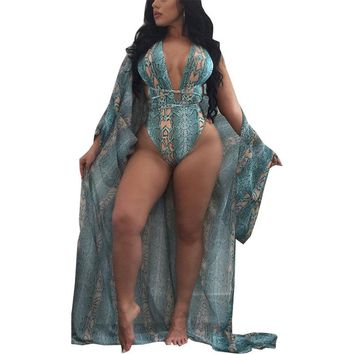 rompers womens jumpsuit 2018 bohemian Two Pieces Set Prints Snakeskin cardigan bodysuits vestidos dropshipping NSK0298