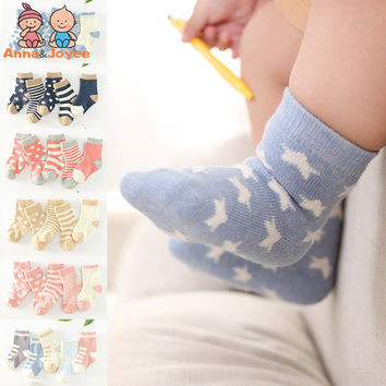 5 Pairs/lot  New Lovely Stars Dot Bao Baowa Wear Cotton Stripe Soft Ventilation Sports Socks