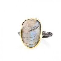 Labradorite Mixed Metal Statement Ring