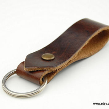 Men's Keychain brown  Men Leather Key Ring  Brown Leather  Men's Brown Key Fob