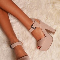 Maquarie Nude Suede Platform Shoes | Pink Boutique