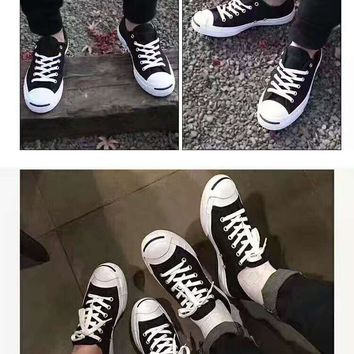 One-nice™ CONVERSE Unisex Canvas Flats Sneakers Sport Shoes black leather H-A-GHSY-1
