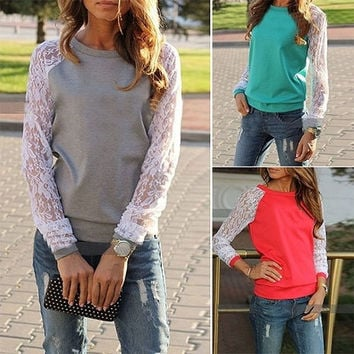 Women's Fashion Patchwork Hoodies White Lace Sleeve Casual Hoodie S-XXL