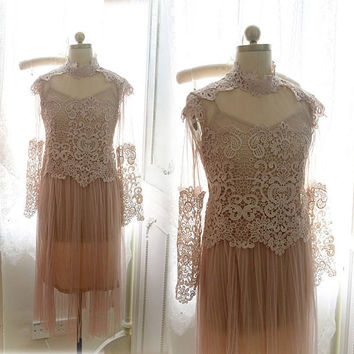 VINTAGE Victorian Collar Romantic Wedding Gown Pale nude beige Pink lace tulle long ruffles pleat dress crochet Sheer + slip dress 2 pcs set