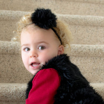 Toddler Headband Furry Pom Pom Headband for Little Ladies