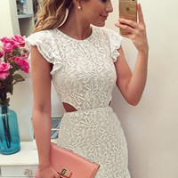 Off White Floral Lace Princess Mermaid Mini Dress