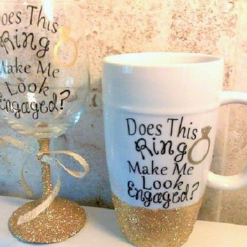 Latte mug, Coffee cup, Look engaged mug, Gift for Bride, White coffee mug, Wedding announce, Glitter mug, Gift for her