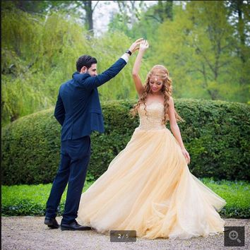 2016 fashion new design ball gown yellow prom dress strapless beading sequins cheap prom gowns best selling prom dresses