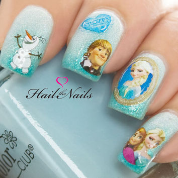 Frozen Princess Nail Art Wraps Water Transfers Decals Elsa Olaf Anna Y920 Salon Quality
