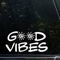 "CMI305 Good Vibes - 8"" x 4"" - Vinyl Die Cut Decals/ Bumper Stickers For Windows, Cars, Trucks, Laptops, Etc."