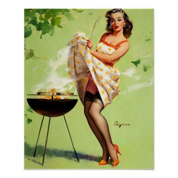 Hot Barbecue Time - Retro Pin Up Girl Poster from Zazzle.com