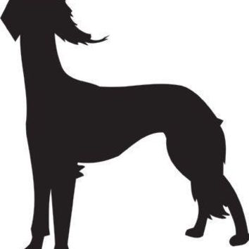 Saluki Silhouette Dog Puppy Breed Long Die Cut Vinyl Transfer Decal Sticker