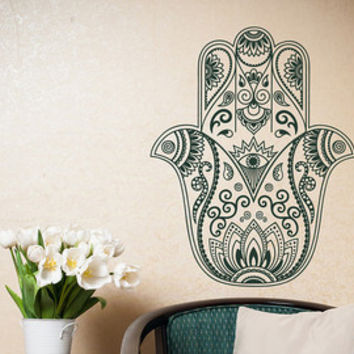 Hamsa Wall Decal- Hamsa Fatima Hand Decal- Namaste Decal Stickers Indian Bohemian Bedroom Yoga Studio Meditation Decor Hamsa Wall Art  #14
