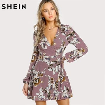 SHEIN Surplice Wrap Floral Dress Multicolor A Line Womens Dresses 2017 Autumn Style Deep V Neck Long Sleeve Dress