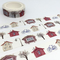 beach house washi tape 10M x 1.5cm cute house wooden hut village house bike deco tape vacation holiday Rent Mortgage Planner Stickers gift