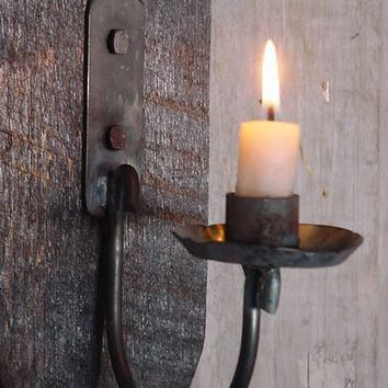 Blackened Wood Sconce Iron Candle Holder by baconsquarefarm