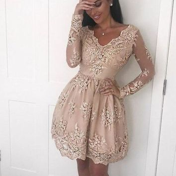 Champagne Lace Applique Homecoming Dresses,V-neck Long Sleeve Homecoming Dresses