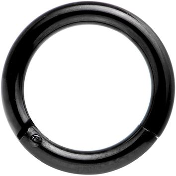 "14 Gauge 5/16"" Black Anodized Hinged Segment Ring Circular Barbell"