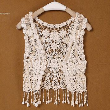 Lady New Spring/Fall Hot Selling Fashion Women's Clothing Brand Short lace Top Crochet Cape Lace Cardigan 12
