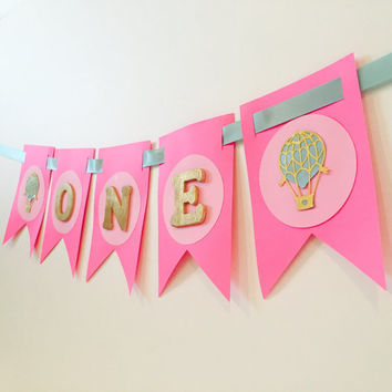 Hot Air Balloon ONE high chair banner, high chair banner,pink high chair banner,princess birthday, birthday high chair banner,first birthday
