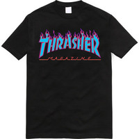 Thrasher Magazine Light Blue Purple Flame Logo Black T-Shirt