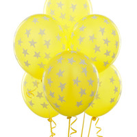 Yellow with Large White Stars Matte Balloons