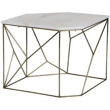 Oakley Side Table, A, Antique Brass, Metal and Quartz