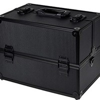 TMS Black Aluminum Makeup Cosmetic Jewelry Storage Case Box Lockable w/ Tiers Strap