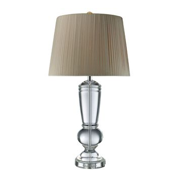 Castlebridge Table Lamp In Clear Crystal With Light Grey Shade