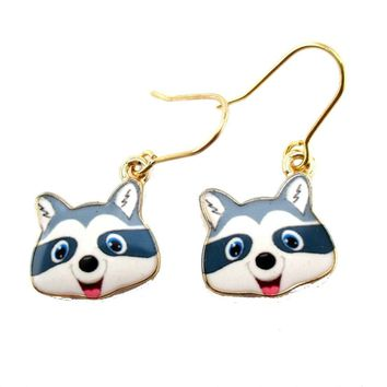 Cartoon Raccoon Face Shaped Dangle Drop Earrings | Animal Jewelry
